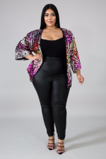 Colorful Sequin Long Sleeve Coats Plus Size 5XL OSM2-5315