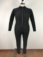 Big Size 5XL Stripe Long Sleeve Skinny Jumpsuits OSM2-4088