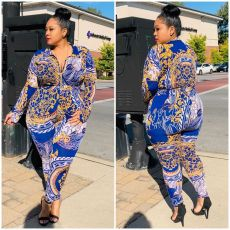 Plus Size 5XL Printed Bodysuit And Pants Suit OSM2-5261