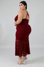 Sexy Spaghetti Strap Long Lace Dress Plus Size OSM2-4080