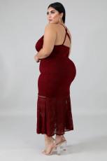 Sexy Spaghetti Strap Long Lace Dress Plus Size OSM2-4080