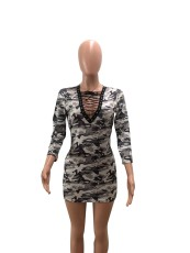 Camouflage Print Sexy Lace Up Bodycon Mini Dress FNN-8016