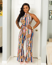 Sexy Chain Print Backless Wide Leg Jumpsuits OSM-5227