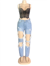 Denim Ripped Holes High Wiast Jeans Pants OSM-5305