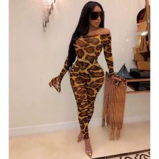 Leopard Print Bodysuit And Pants Two Piece Sets OSM-3289