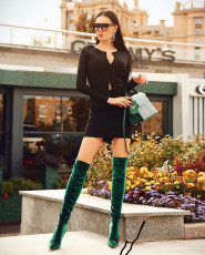 Sexy Zipper Long Sleeve Tops And Mini Skirt Set CYAO-8507