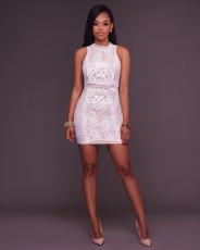 Sexy Sleeveless Mini Bodycon Lace Dress MSM-1053