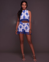 Sexy Tassel Embroidery Two Piece Shorts Set OSM-3025