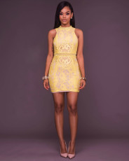 Sexy Sleeveless Mini Bodycon Lace Dress MSM-1053