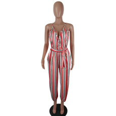 Sexy Stripe Spaghetti Strap One Piece Jumpsuits QY-5027
