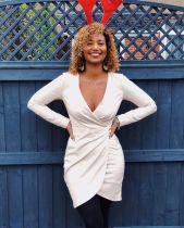 White V Neck Long Sleeve Mini Dresses QY-5078