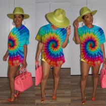 Tie Dye Print Short Sleeve Casual Loose T Shirt Tops MUM-5005
