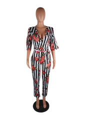 Sexy Stripe Floral Print V Neck Jumpsuits QY-5005