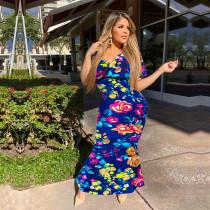 Sexy Floral Print Off Shoulder Long Maxi Dresses PN-6303