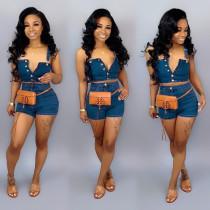 Sexy Denim Crop Tops Jeans Shorts 2 Piece Sets PN-6170