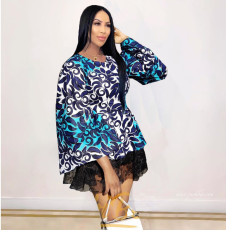 Sexy Printed Lace Patchwork Flare Sleeve Mini Dress LM-8125