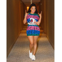 Colorful Leopard Print Short Sleeve Mini Dress NM-8033