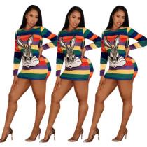 Rainbow Stripe Rabbit Print Long Sleeve Mini Dress GS-1156
