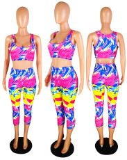 Casual Printed Tank Top Cropped Pants 2 Piece Sets YMT-6024