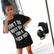 Letter Print O Neck Casual Loose T Shirt Dress SMD-616