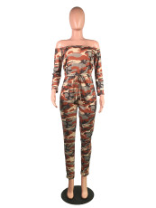 Camouflage Print Slash Neck Long Sleeve Jumpsuits BS-1002