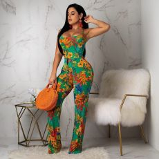Floral Print Criss Cross Strap Halter Jumpsuits BS-1047