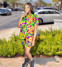 Plus Size Colorful Printed Two Piece Shorts Set YH-5071
