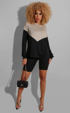 Contrast Color Long Sleeve Two Piece Shorts Set SMD-2020