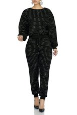 Hot Drilling Long Sleeve Two Piece Pants Suit MA-292