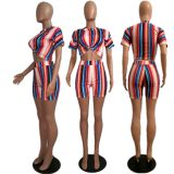 Colorful Stripe Crop And Shorts 2 Piece Sets MDF-5061