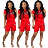Hot Drilling Short Sleeve Two Piece Shorts Set MDF-5051
