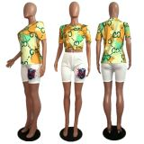 Casual Printed T Shirt And Shorts Two Piece Sets MDF-5075