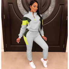 Casual Tracksuit Patchwork Two Piece Pants Set OFN-6334