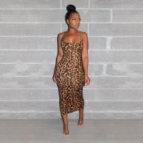 Sexy Leopard Print Spaghetti Strap Long Dress SH-3631