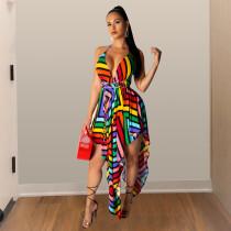 Coloful Stripe Deep V Cross Strap Backless Irregular Dress TE-3739