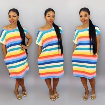 Colorful Stripe Short Sleeve Loose T Shirt Dress BS-1063