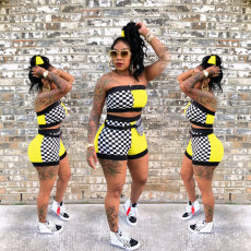 Plaid Patchwork Tube Top And Shorts 2 Piece Sets YN-982-2