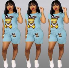 Plus Size Cartoon Print Shorts 2 Piece Set QY-5090-2