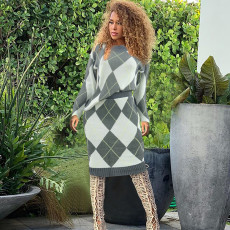 Plaid Knitted Sweater And Midi Skirt Two Piece Sets PN-6292