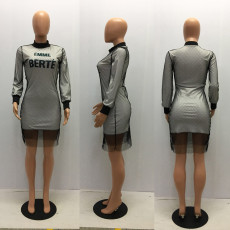 Letter Print Mesh Long Sleeve Knee Length Dress MAE-162