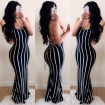 Sexy Striped Cross Strap Backless Maxi Dress BS-1058