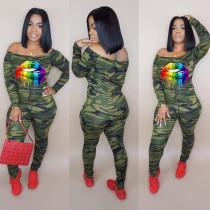 Camo Print Slash Neck Long Sleeve Skinny Jumpsuit YD-8130