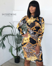 Leopard Print Long Sleeve Slim Mini Dress ARM-8009