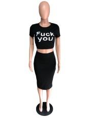 Black Letter Print Two Piece Skirt Set QZX-6067