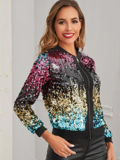 Colorful Sequin Zipper Short Jacket Coat TR-2006