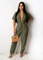 Plus Size Casual Buttons Short Sleeve Waist Jumpsuit CL-6047