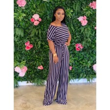 Plus Size Loose Striped Short Sleeve Jumpsuits CL-6042