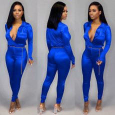 Solid Long Sleeve Bodysuit And Pants Two Piece Sets OFN-6340