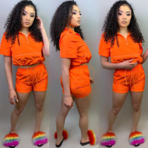 Solid color Short Sleeve Two Piece Shorts Set HMS-5217