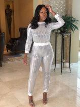 Casual Sequin Long Sleeve Two Piece Pants Suit FSL-221
